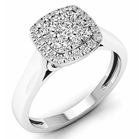 Dazzlingrock Collection 0.50 Carat (ctw) 14K White Diamond Ladies Cluster Engagement Ring 1/2 CT, White Gold, Size - 1/2 Ct Ctw Diamond Ring