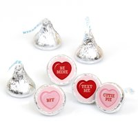 Valentine's Day Conversation Hearts - Round Candy Valentine's Day Sticker Favors - Labels Fit Hershey's Kisses (1 sheet