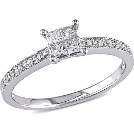 1/3 Carat T.W. Princess- and Round-Cut Diamond 10kt White Gold Cluster Engagement
