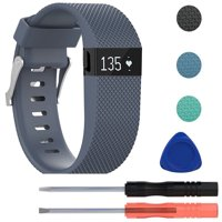 Replacement Premium Silicone Wristband Strap with Metal Buckle Clasp for Fitbit Charge HR Fitness Tracker, Including Screwdriver Tools Kit