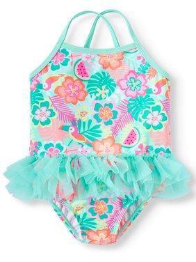 Toddler Girls' Floral Tutu 1-Piece Swimsuit