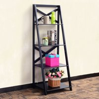 Costway 4-Tier Ladder Shelf Bookshelf Bookcase Storage Display Leaning Home Office Decor