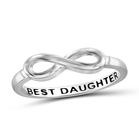 Basketball Message Ring (Best Daughter Sterling Silver Infinity Loop Message)