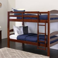 Twin Over Twin Wood Bunk Bed, Espresso (Multiple Colors Available)