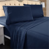 "Hotel Luxury Bed Sheets - 4 Pieces - Extra Soft - 18"" Deep Pocket Brushed Microfiber 2200 Thread Count Wrinkle Resistant Bedding Sheets King,Navy Blue"