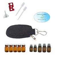 10 Bottle Essential Oil Keychain Carrying Case Travel Bag, Roller Bottles and Euro Orifice Reducer Bottles, Bottle Opener, Funnel, Pipettes (Black)