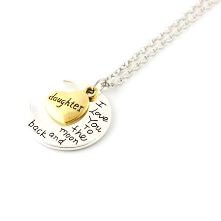 Fashion Jewelry I Love You Family Mom Birthday Gift Pendant Necklace for Women Girl - Daughter - Flower Girl Necklace