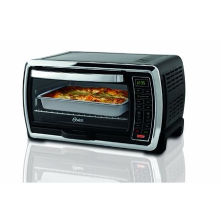 Oster Large Capacity Countertop 6-Slice Digital Convection Black & Polished Stainless Steel Toaster Oven Convection Hot Air Range