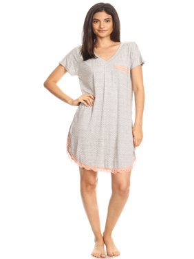 301 Womens Nightgown Sleepwear Pajamas - Woman Sleeveless Sleep Dress Nightshirt Gray L