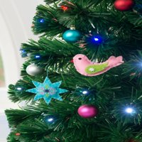 Holiday Time Star and Bird Christmas Tree Ornament Decorations, Set of 6, 4""