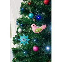 """Holiday Time Star and Bird Christmas Tree Ornament Decorations, Set of 6, 4"""""""