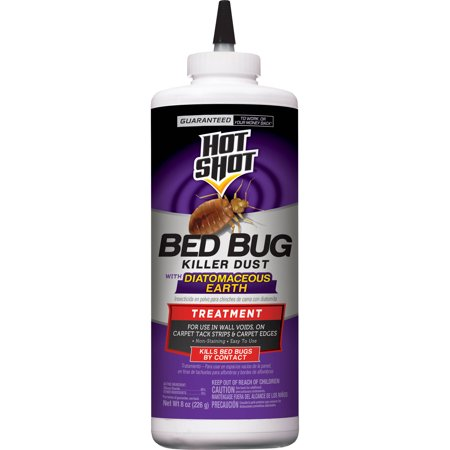 Hot Shot Bedbug Killer Dust Powder With Diatomaceous Earth 8 Ounces