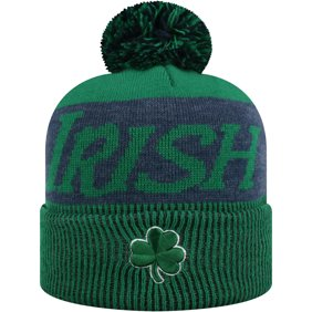 e56bba214cf Women s Russell Green Navy Notre Dame Fighting Irish Frore Cuffed Knit Hat  With Pom - OSFA