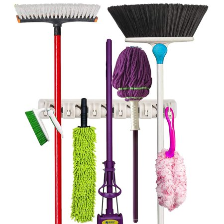 Mop and Broom Holder Wall Mounted Garden Tool Storage Rack & Organization Home Hanger Closet Garage Shed Basement Storage Must