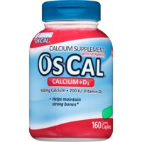 OsCal Calcium + Vitamin D3 Caplets, 500mg + 200 IU, 160 Ct