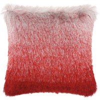 "Nourison Illusion Shag Decorative Throw Pillow, 20"" x 20"", Red/Silver"