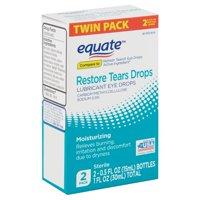 Equate Restore Tears Lubricant Eye Drops Twin Pack, 0.5 fl oz, 2 Count