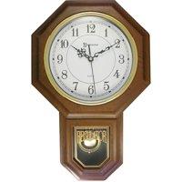 """Timekeeper 180WAGM Essex 17"""" Modern Pendulum Wall Clock (faux Wood)"""