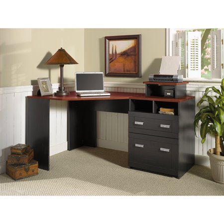 Bush Furniture Wheaton Reversible Corner Desk with File Drawers, Multiple - At Work Office Furniture