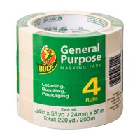 Duck Brand General Purpose Masking Tape, 0.94 inches x 55 yards, Beige, 4 pack