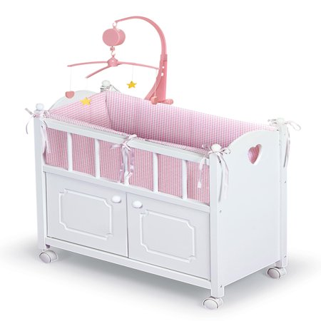 Badger Basket Cabinet Doll Crib with Gingham Bedding and Free Personalization Kit - White/Pink - Fits American Girl, My Life As & Most 18