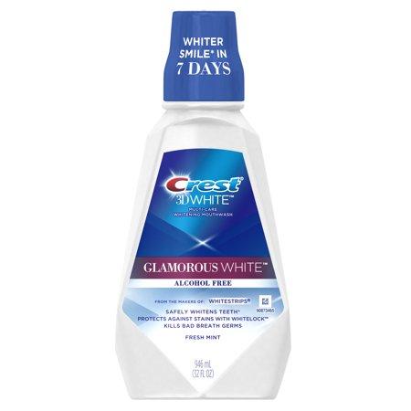 Crest 3D White Glamorous White Alcohol Free Multi-Care Whitening Mouthwash, Fresh Mint, 32 fl oz (946 mL)