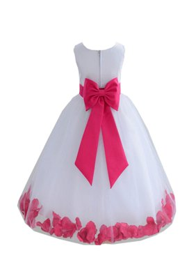 Ekidsbridal Wedding Pageant Rose Petals White Tulle Junior Bridesmaid Toddler Dress Summer Easter Dress First Communion Girls Clothing Holiday Recital Dress Princess 302T size 6 Flower Girl Dress