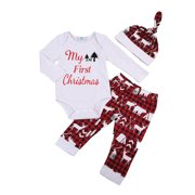 78a2ea6e0 US Newborn Baby Boy Girl My First Christmas Romper Pants Hat Outfit Clothes  Set