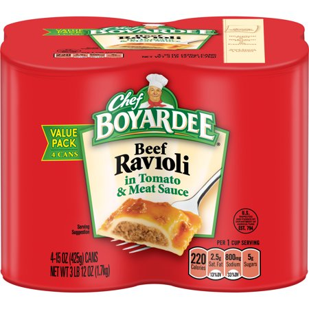 (3 Pack) Chef Boyardee Beef Ravioli, 15 oz, 4 Pack (15 Min Meal)