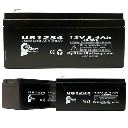 Gilbarco Kit - 3x Pack - Compatible Gilbarco Q1195501 Battery - Replacement UB1234 Universal Sealed Lead Acid Battery (12V, 3.4Ah, 3400mAh, F1 Terminal, AGM, SLA) - Includes TWO F1 to F2 Terminal Adapters
