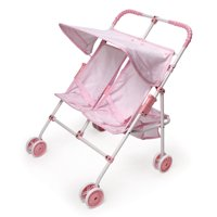 """Badger Basket Folding Double Doll Umbrella Stroller - Pink/Gingham - Fits American Girl, My Life As & Most 18"""" Dolls"""