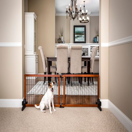 Wood Free Standing Gate (Carlson 2-in-1 Free Standing Premium Hardwood with Black Accents Wooden Pet)