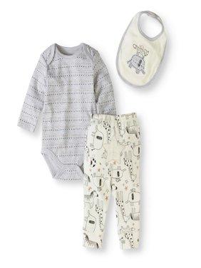 Newborn Baby Boy or Girl Unisex Bodysuit, Bib & Turn-me-Round Pants, 3pc Set