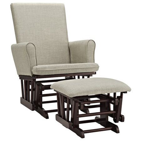 Angel Line Ashley Semi-Upholstered Glider and Ottoman, Espresso with Beige
