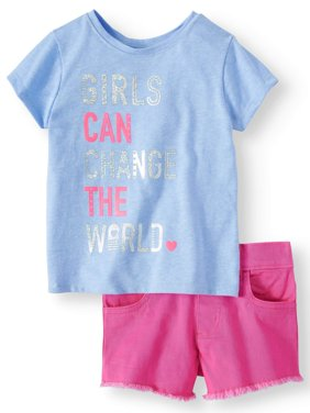 Graphic T-Shirt & Twill or Denim Shorts, 2pc Outfit Set (Toddler Girls)