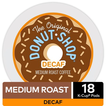 The Original Donut Shop Decaf Coffee, Keurig K-Cup Pod, Medium Roast, 18 (Decaffeinated K-cups)
