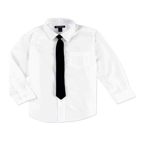George Boys Packaged Dress Shirt with Black Tie - Boys Kids Dress