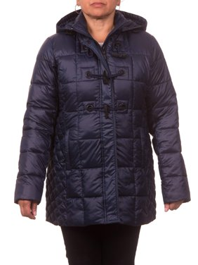 Women's Plus Size Down Blend Hooded Toggle Coat