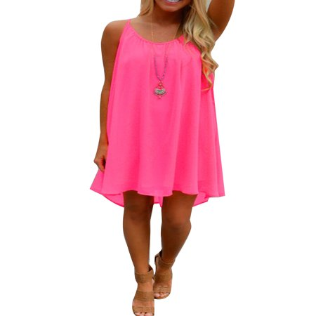Plus Size Ladies Casual Summer Short Dresses for Women Sleeveless Strap Loose Asymmetrical Hem Mini Dress
