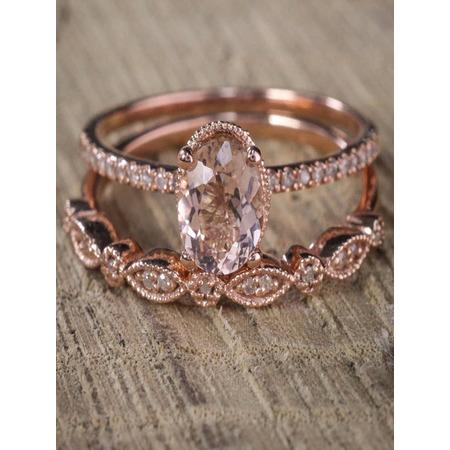 Oval cut Solitaire Morganite & Diamond Halo Bridal Wedding Set on Sale: 1.50 Carat Morganite Solitaire Bridal Ring Set Rose Gold Cheap Sale