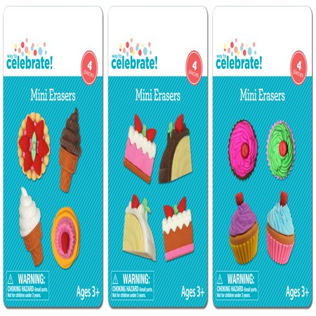 (4 Pack) Fun Celebration Mini Erasers, Assorted Colors and Shapes, - Food Erasers