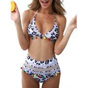 e07c6926d53 UKAP Bikini Set Bathing Suits Sexy Swimsuits High Waist for Women Halter  Neck Tassel Bandage Mesh