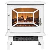 "AKDY FP0080 20"" Freestanding White Portable Electric Fireplace Heater 3D Flames Firebox w/ Logs"