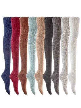 Lian LifeStyle Women's 1 Pair Fashion Thigh High Cotton Socks Size 6-9