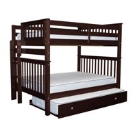 Bedz King Bunk Beds Full over Full Mission Style with End Ladder and a Twin Trundle, Cappuccino