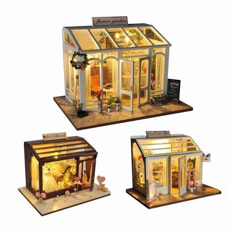 - Akoyovwerve 1Pcs DIY 3D Dollhouse Wooden Flower Garden Cake Shop Bridal Shop Kit Miniature Garden w/ LED Light, Size A