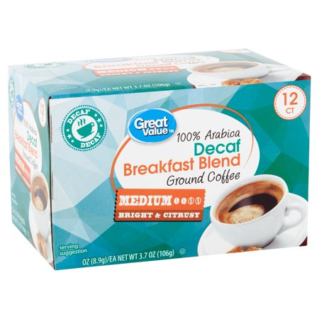 Great Value 100% Arabica Decaf Breakfast Blend Ground Coffee, 3.7 oz, 12 Count