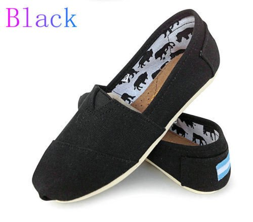 Womens Ladies Flat Slip On Espadrilles Pumps Canvas Plimsoles Shoes Size 6-10 (Black Sardonyx Flat)