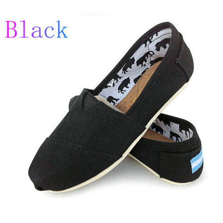 Girls Vans Slip On Shoes (Womens Ladies Flat Slip On Espadrilles Pumps Canvas Plimsoles Shoes Size)