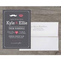 Lips and Mustache Deluxe Wedding Invitation